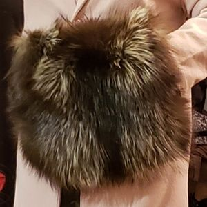 Handbags - real fur hand muff